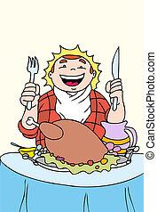 turkey feast a hand drawn illustration vector based image.
