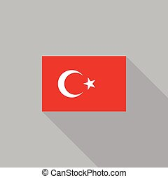 Turkey flag flat design vector illustration