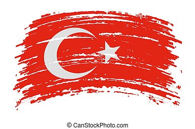 Turkey flag in grunge brush stroke, vector