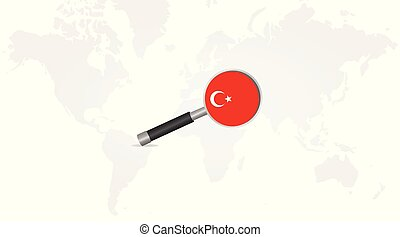 Turkey flag in magnifying glass