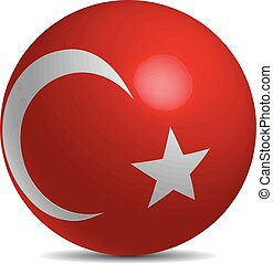 Turkey flag on a 3d ball with shadow