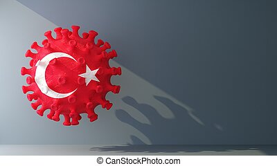turkey flag on covid-19 virus with copy space