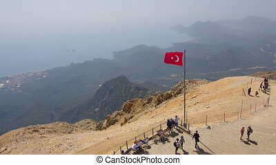 Turkey flag on flagpole. Turkish waving flag in wind