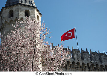 Turkey flag on fortress wall
