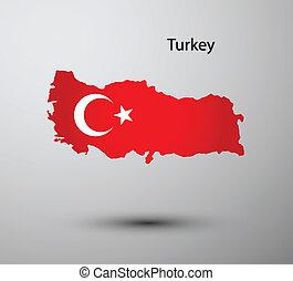 Turkey flag on map