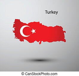 Turkey flag on map