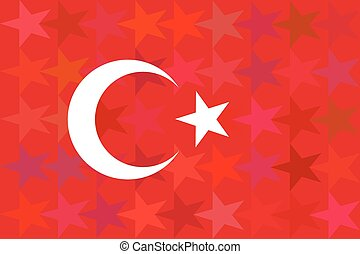 Turkey flag on unusual red stars background. Original proportions and high quality. Vector
