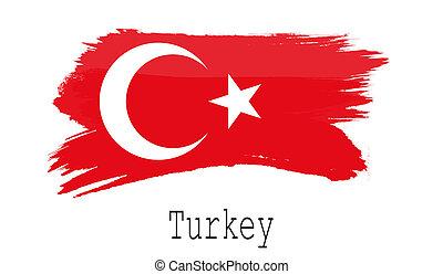 Turkey flag on white background