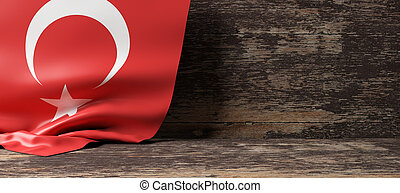 Turkey flag on wooden background. 3d illustration