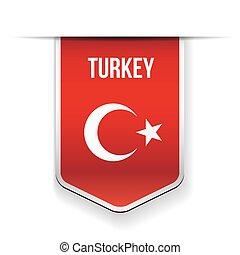 Turkey flag ribbon vector