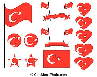 Turkey flag set. Collection of symbols, flag in heart. Vector illustration