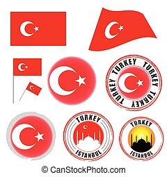 turkey flag set color illustration on white background