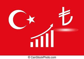 Turkey, flag, turkish lira icon. Vector illustration, flat design