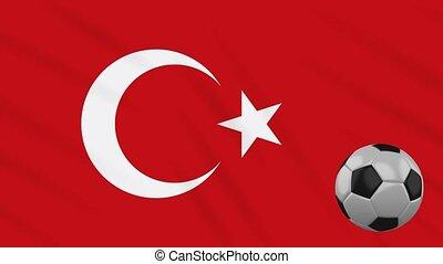 Turkey flag waving and football rotates, loop - Turkey flag...