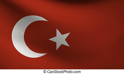 turkey flag waving gently in wind