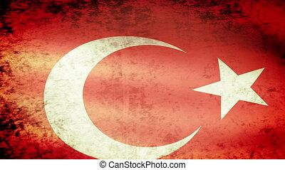 Turkey Flag Waving, grunge look