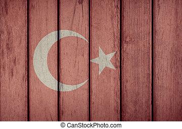 Turkey Flag Wooden Fence