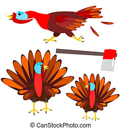 Turkey for the holidays - Cartoon illustration of colorful...