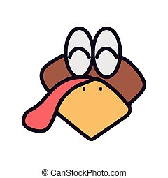 turkey head cartoon animal icon