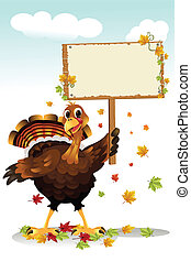Turkey holding a sign