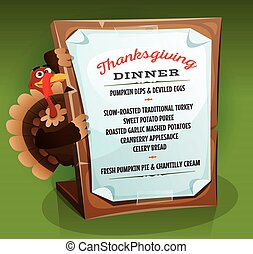 Turkey Holding Thanksgiving Dinner Menu - Illustration of a...
