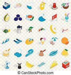 Turkey icons set, isometric style