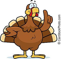 Turkey Idea - A happy cartoon turkey with an idea.