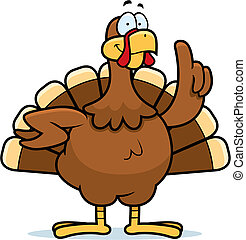Turkey Idea - A happy cartoon turkey with an idea.