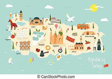 Turkey illustrated map with famous landmarks icons