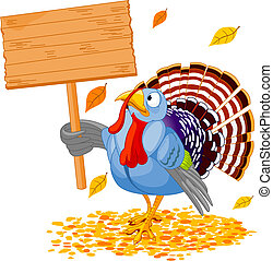 Turkey - Illustration of a Thanksgiving turkey holding a...