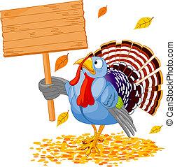 Turkey - Illustration of a Thanksgiving turkey holding a...