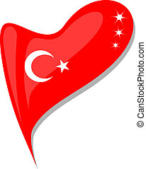 turkey in heart. Icon of turkey national flag. vector -...