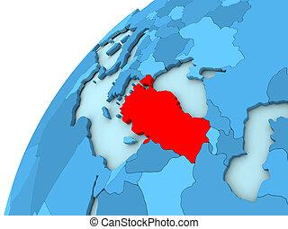 Turkey in red on blue globe