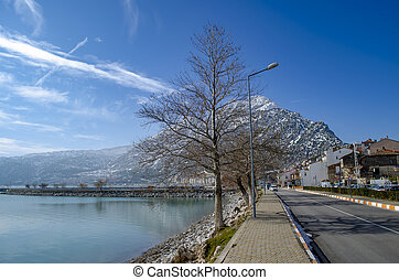 Turkey, Isparta province, beautiful Egirdir lake and Needle mountain in winter