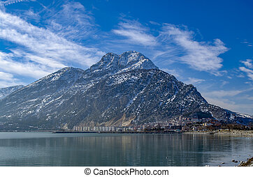 Turkey, Isparta province, beautiful Egirdir lake and the Needle mountain in winter