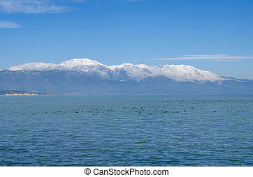Turkey, Isparta province, beautiful Egirdir lake in winter season