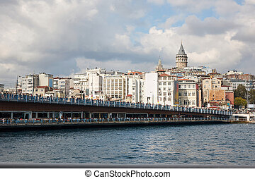 A view of the Galata Bridge and the Galata Tower - Turkey,...
