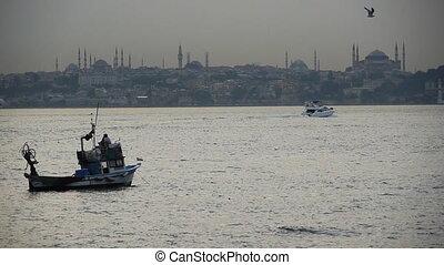 Fishing boats near Hagia Sophia - Turkey, Istanbul, Fishing...