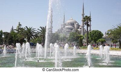 TURKEY, ISTANBUL - MAY 12, 2015: Tourists on Sultanakhmet...