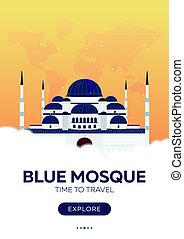 Turkey. Istanbul. Time to travel. Travel poster. Vector flat illustration.