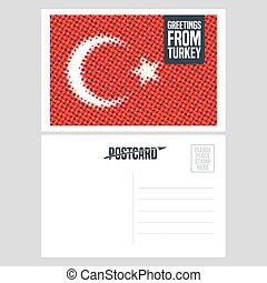 Turkey, Istanbul vector postcard design with Turkish flag