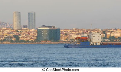 Turkey, Istanbul, view of the city coast from the Sea of Marmara on which cargo barges and other vessels sail