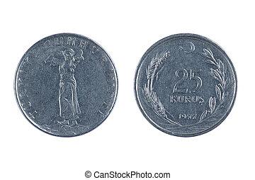 isolated object on white - coin Turkey kurus