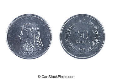 isolated object on white - coin Turkey