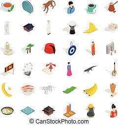 Turkey landmark icons set, isometric style