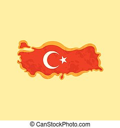 Turkey - Map colored with Turkish flag