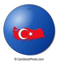Turkey map flag on abstract globe illustration