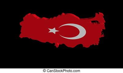 Turkey map flag rotate animation