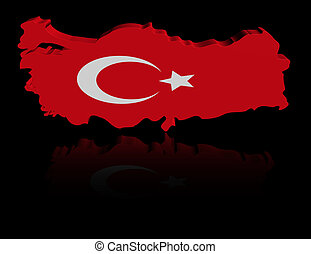 Turkey map flag with reflection illustration