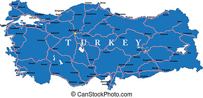 Highly detailed map of Turkey with main cities and roads.